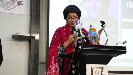 UN Deputy Secretary-General Amina Mohammed addresses the Faculty of Law at Baze University Abuja in Nigeria