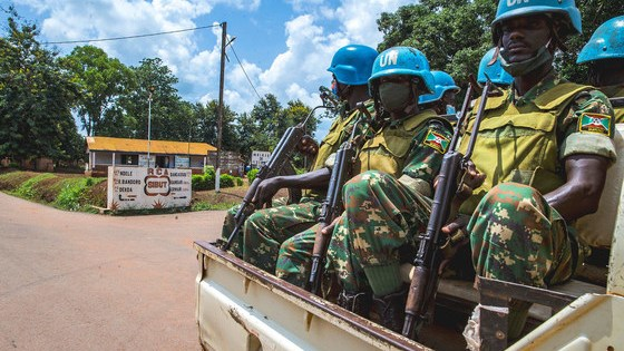Peacekeepers from MINUSCA's Burundian contingent on patrol in Bokengue.