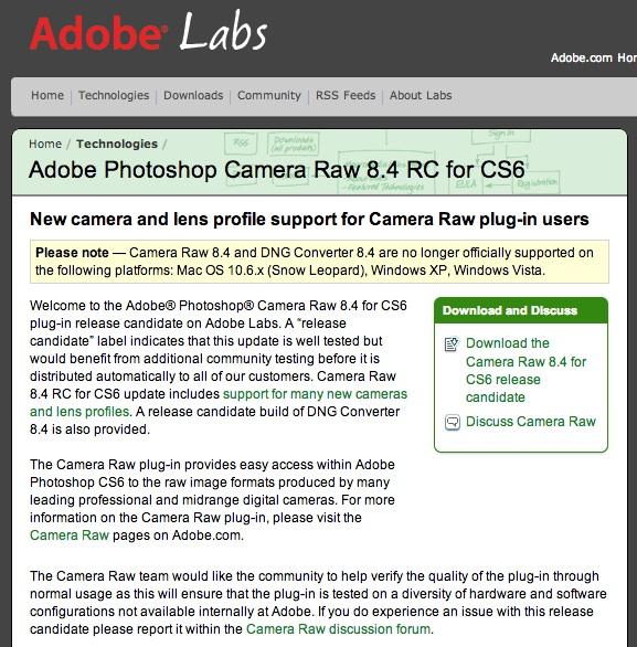 Adobe Photoshop Camera Raw 8.4 RC for CS6