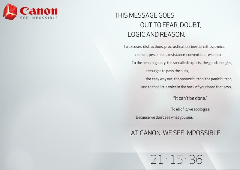 Canon謎のテザー広告