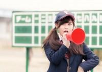 部員に喝を入れる憧れの女子マネージャー(野球部) [モデル:河村友歌]