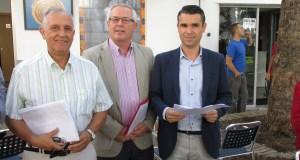 Los portavoces de la oposición, Enrique Monterroso (IU); Rafael Piña (OSP) y Jose Bernal (PSOE) este miércoles