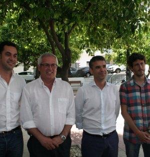 De izqda a drcha Miguel Díaz (IU), Rasfael Piña (OSP), José Bernal (PSOE) y José Carlos Núñez (Costa del Sol Sí Puede) tras su última rueda de prensa conjunta. Foto/ marbellaconfidencial.es