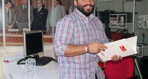 El secretario general de las Juventudes Socialistas, Alejandro García, este domingo. Foto/ Europa Press