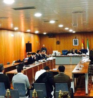 Los policías locales de Marbella que han sido absueltos, durante el juicio celebrado en diciembre de 2015 en la Audiencia de Málaga. Foto/ Europa Press