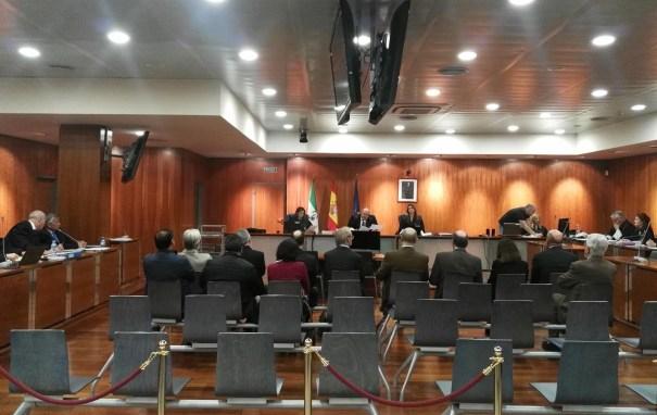 Imagen del banquillo de los acusados en el 'caso Hidalgo' en la Audiencia de Málaga. FOTO/ EP