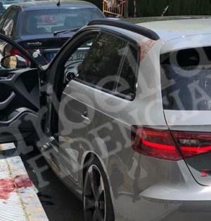 Imagen del vehículo del narco conocido como 'El Maradona', acribillado a tiros en Nueva Andalucía cuando salía de la comunión de su hijo, en mayo de 2018 FOTO/ MARBELLA CONFIDENCIAL