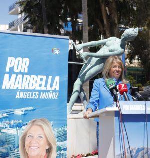 La alcaldesa de Marbella y candidata del PP a la Alcaldía, Ángeles Muñoz, este jueves al presentar su programa sobre turismo. FOTO/ PP
