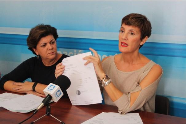 La portavoz del PSOE en el Ayuntamiento de Estepona, Emma Molina, muestra documentos junto a la vicesecretaria del PSOE de Málaga, Fuensanta Lima, este miércoles en rueda de prensa. FOTO/ PSOE