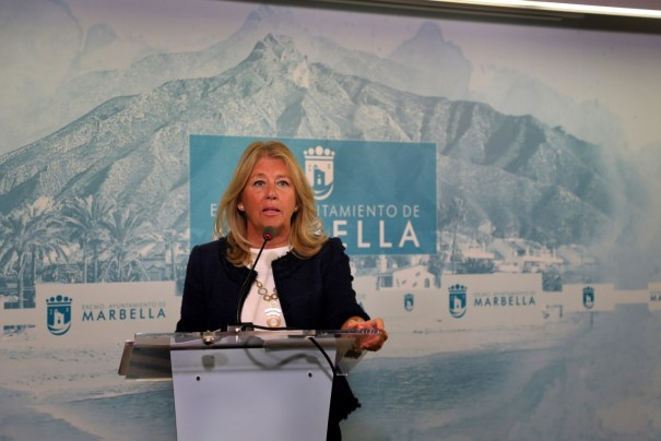La alcaldesa de Marbella, Angeles Muñoz, este lunes durante la rueda de prensa telemática que ha ofrecido. FOTO/ Ayto de Marbella