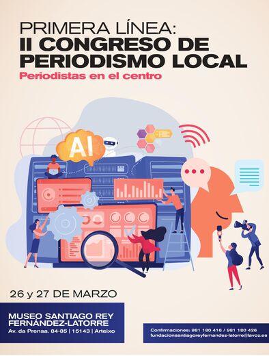 Cartel promocional del II Congreso de Periodismo Local, a celebrar en La Coruña entre los días 26 y 27 de marzo