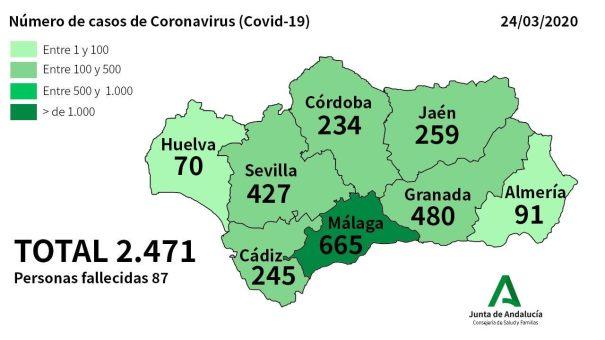 Mapa facilitado por la Junta de Andalucía este martes