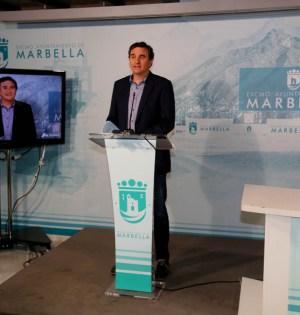 El portavoz del gobierno de Marbella, Félix Romero, durante su comparecencia telemática de este lunes. FOTO/ Ayto de Marbella