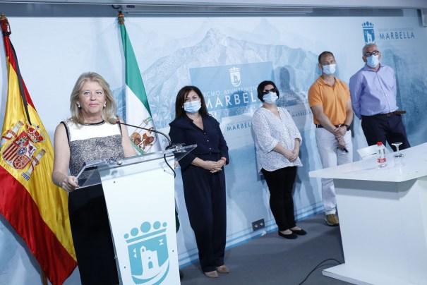 La alcaldesa de Marbella, Ángeles Muñoz, durante la comparecencia telemática de este miércoles. FOTO/ Ayto de Marbella
