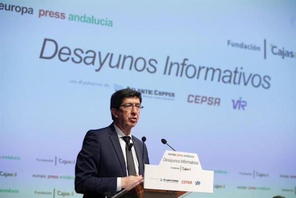 El vicepresidente de la Junta de Andalucía, Juan Marín, este lunes durante su intervención en los desayunos de Europa Press Andalucía. FOTO/ EP