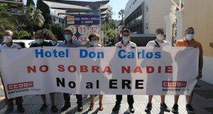 Imagen de la concentración de CCOO este jueves ante la Subdelegación del Gobierno en Málaga. FOTO/ CCOO