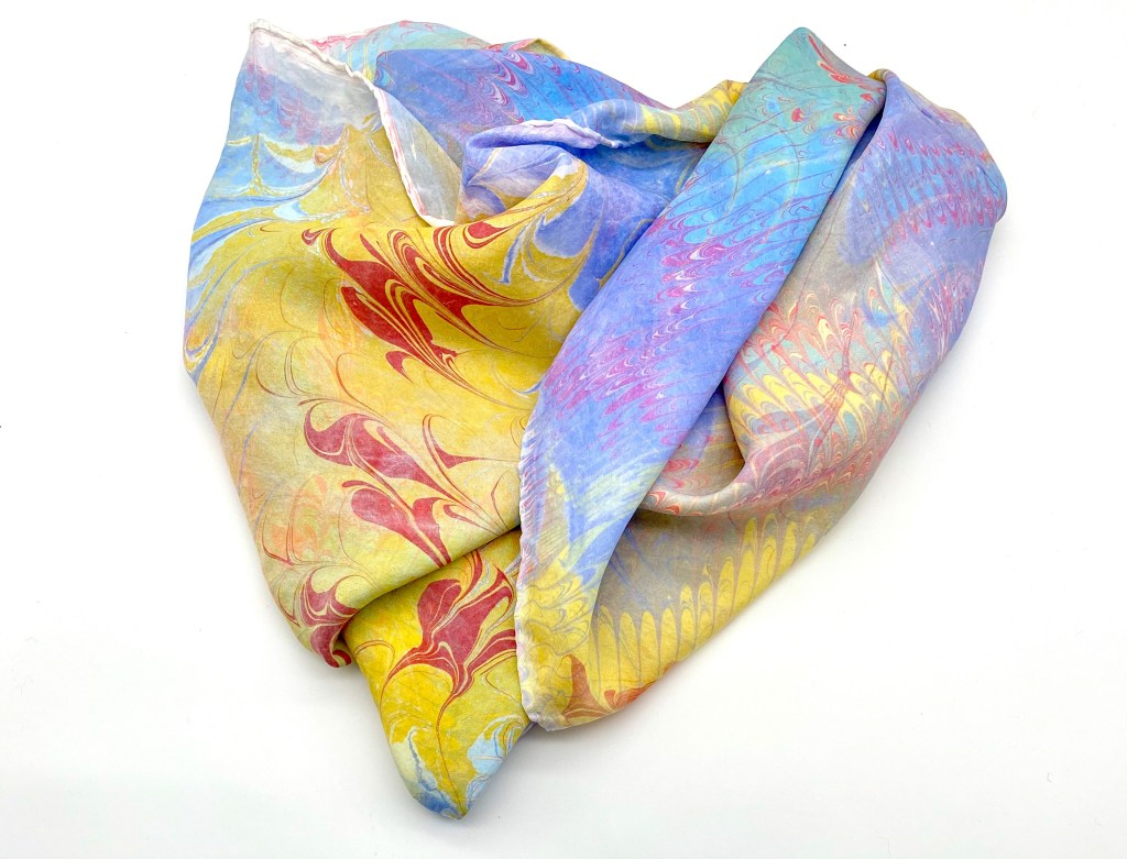 Aurelia scarf showing marbling with raked and combed pattern