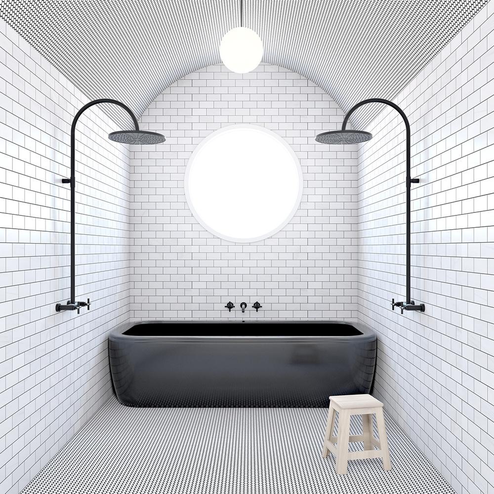 white marble penny tile bathroom floor