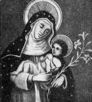 Image of St. Agnes of Montepulciano holding the Infant Jesus and a Lily