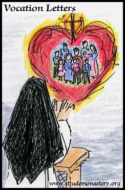 Drawing of a Dominican nun kneeling in prayer as she entrusts her family to the Sacred Heart of Jesus