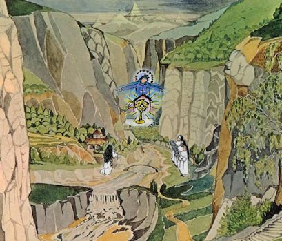 Tolkien's illustration of Rivendell with little nun figures superimposed
