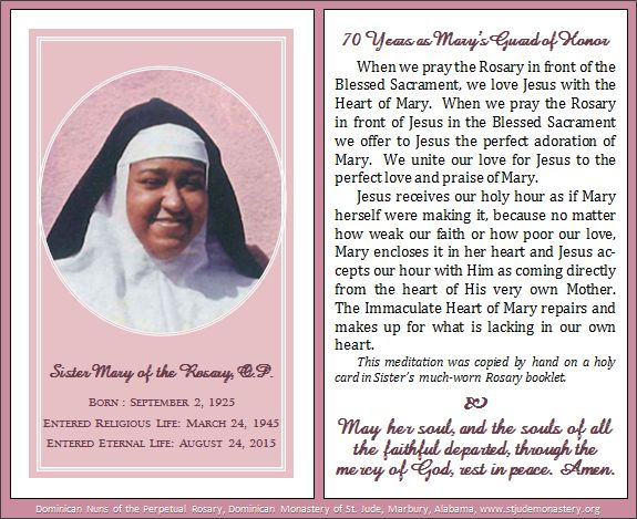 Sister Mary of the Rosary memorial card