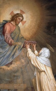 Painting of Jesus giving St. Catherine of Siena two crowns - by Alessandro Franchi