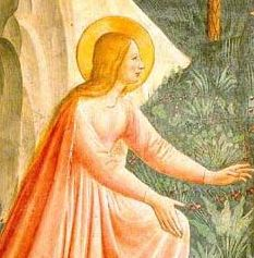 Image of Fra Angelico's painting of Noli Me Tangere - detail of St. Mary Magdalen