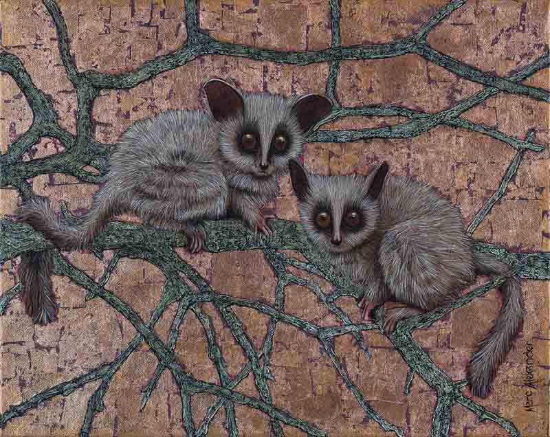 Bush Babies, oil and bronze leaf on canvas, 40cm by 50cm. (2015)