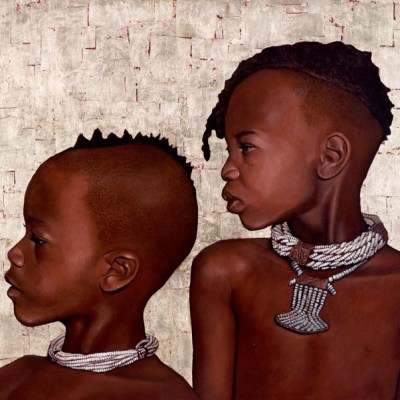 Himba Children, Oil and Gold Leaf on Canvas, 90cm by 120cm. (2011)