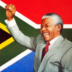 Nelson Mandela 'Hope For South Africa' by Marc Alexander, oil on canvas, 100cm by 100cm. (2011).