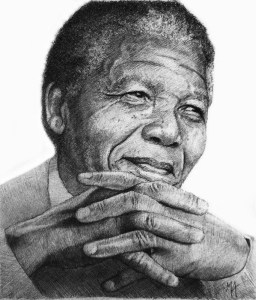 """Nelson Mandela 'Contemplation' by Marc Alexander, pencil on paper, 17cm by 14.5cm, (2014). Mandela's uncompromising moral convictions and gentle yet firm sense of fairness are what set him apart. It was characteristics like these that gave him such an authority at the negotiating table. Mandela said, 'If there are dreams about a beautiful South Africa, there are also roads that lead to their goal. Two of these roads could be named Goodness and Forgiveness'."""" Unfortunately, I never met Nelson Mandela in person. nevertheless, after producing so many portraits of him, I have become so familiar with every spot and wrinkle on his face. So much so that my latest sketches required little or no photographic references, and are drawn from my imagination."""