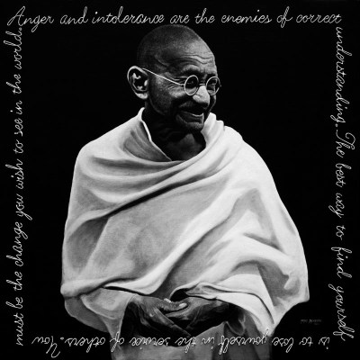 Mahatma Gandhi #I, Oil and Steel Wire on Board, 100cm by 100cm. (2012)