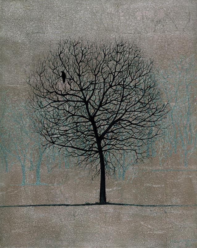 Winter Tree, Oil and Silver Leaf on Canvas, 50cm by 40cm. (2012)