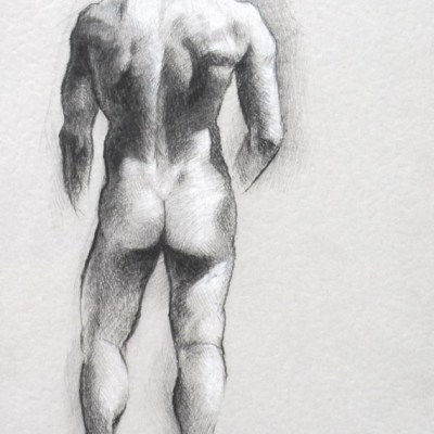 Male Nude #1, Pencil and White Charcoal on Paper, 21cm by 15cm. (2013)