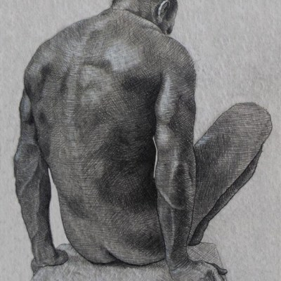Male Nude #5, Pencil on Paper, 21cm by 15cm. (2013)