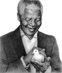 Nelson Mandela 'Man of Peace Preliminary Sketch' by Marc Alexander, pencil on paper, 17cm by 14.5cm. (2013).