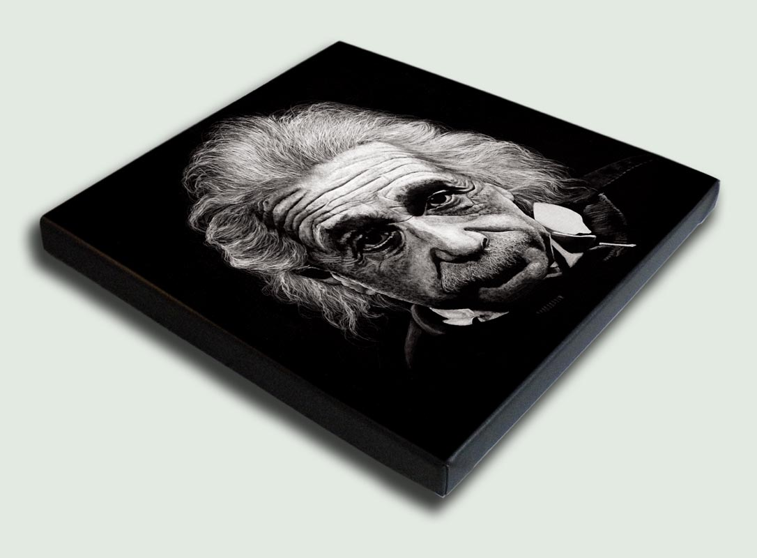 Albert Einstein Stretched - Limited edition stretched canvas artist prints by South African artist Marc Alexander as part of his 'Legacy' Series.