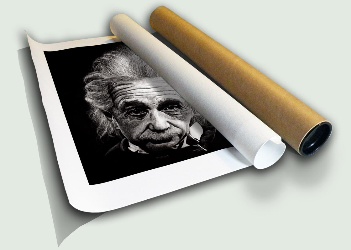 """Albert Einstein Rolled Canvas, limited edition artist print on canvas rolled in a core by South African artist Marc Alexander as part of his """"Legacy"""" series. Original painted in oils."""