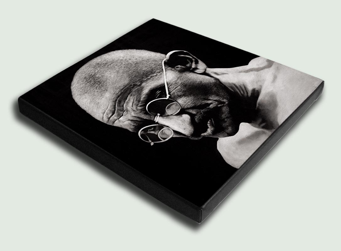 Mahatma Gandhi II Stretched - Limited edition stretched canvas artist prints by South African artist Marc Alexander as part of his 'Legacy' Series.