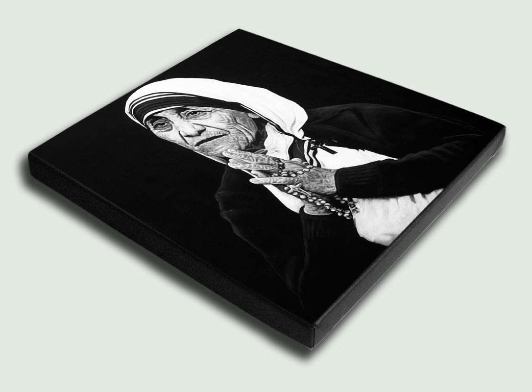 Mother Teresa I Stretched - Limited edition stretched canvas artist prints by South African artist Marc Alexander as part of his 'Legacy' Series.