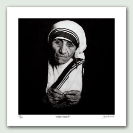 Mother Teresa II Paper Print - Limited edition artist paper prints by South African artist Marc Alexander as part of his 'Legacy' Series. Original painted in oils