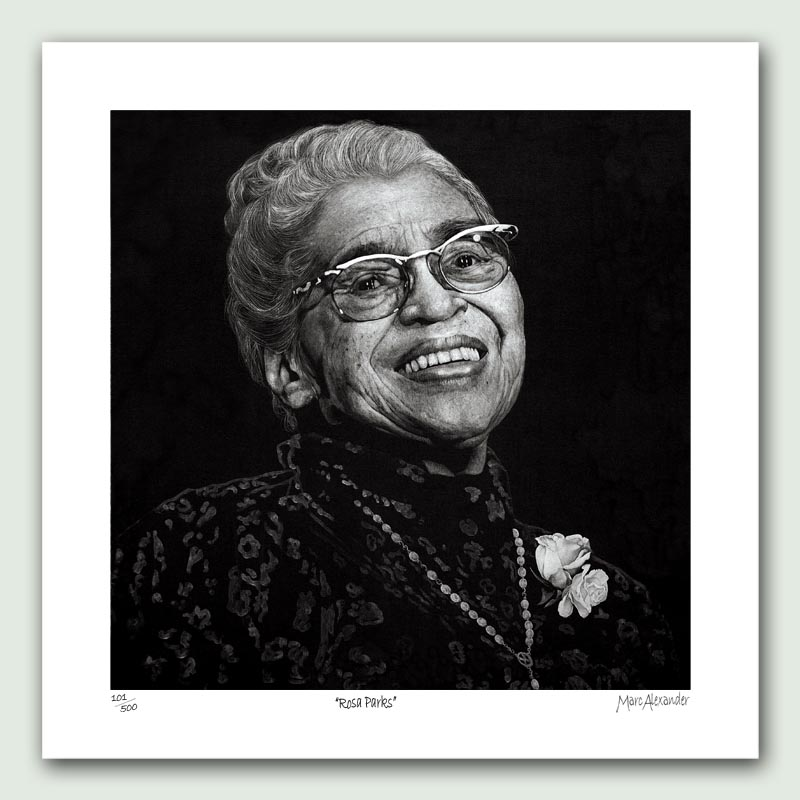 Rosa Parks Paper Print - Limited edition artist paper prints by South African artist Marc Alexander as part of his 'Legacy' Series. Original painted in oils