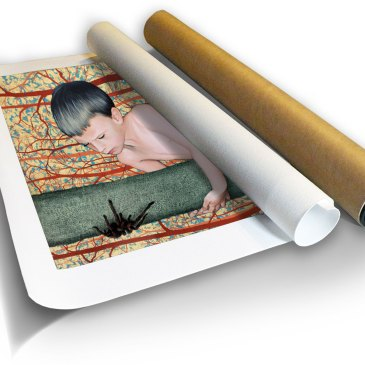 James and the Giant Tarantula – Archival Canvas Print in a Tube