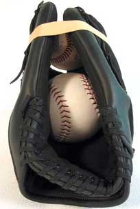 Break-in a Baseball Glove with a Rubber Band