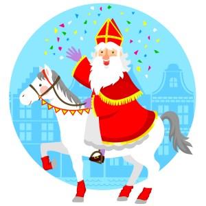 Cartoon Sinterklaas op paard