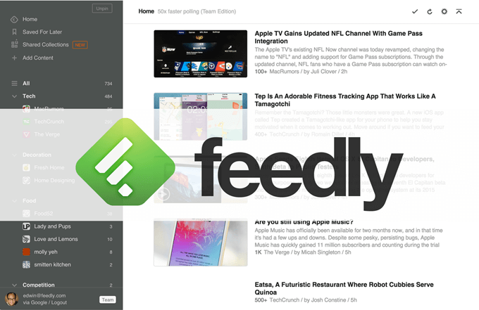 news aggregator application Feedly
