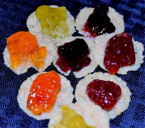 Kelly's Jelly Pai rings with Kitchen Table Bakers' Mini 100% Parm Crisps