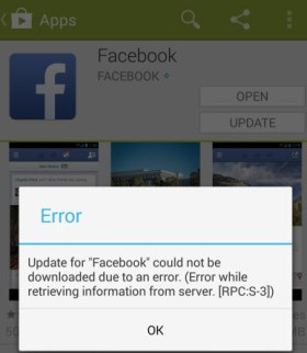 Facebook update error