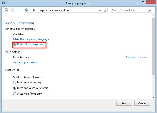 Image of Language options window with Uninstall language pack selected